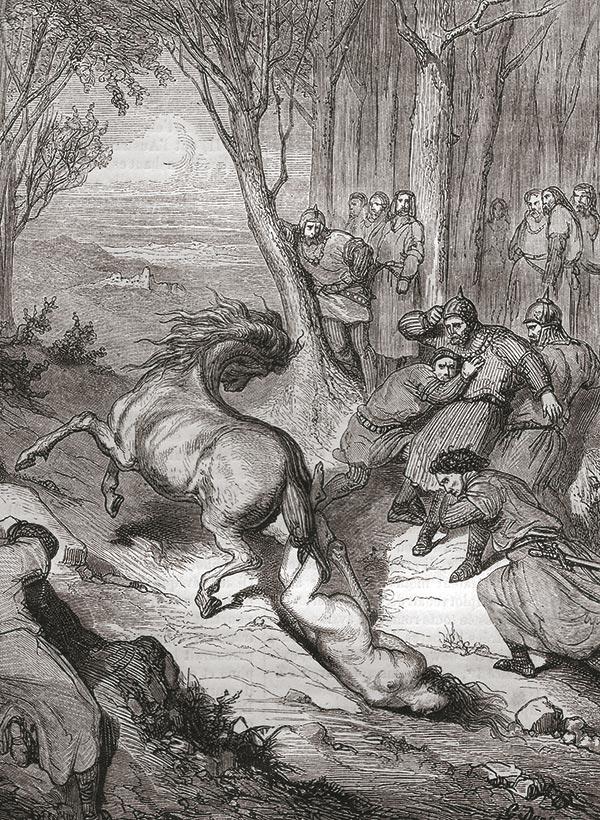 Gravure de la mort de Brunehaut dans «Histoire populaire contemporaine de la France», tome 1, Charles Lahure, 1846.