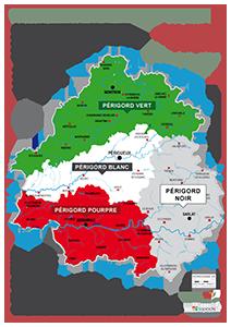 Carte des 4 Périgord touristiques