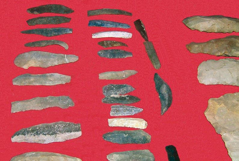 Collection de silex, Alexis-de-Gourgue, exposée au château de Lanquais