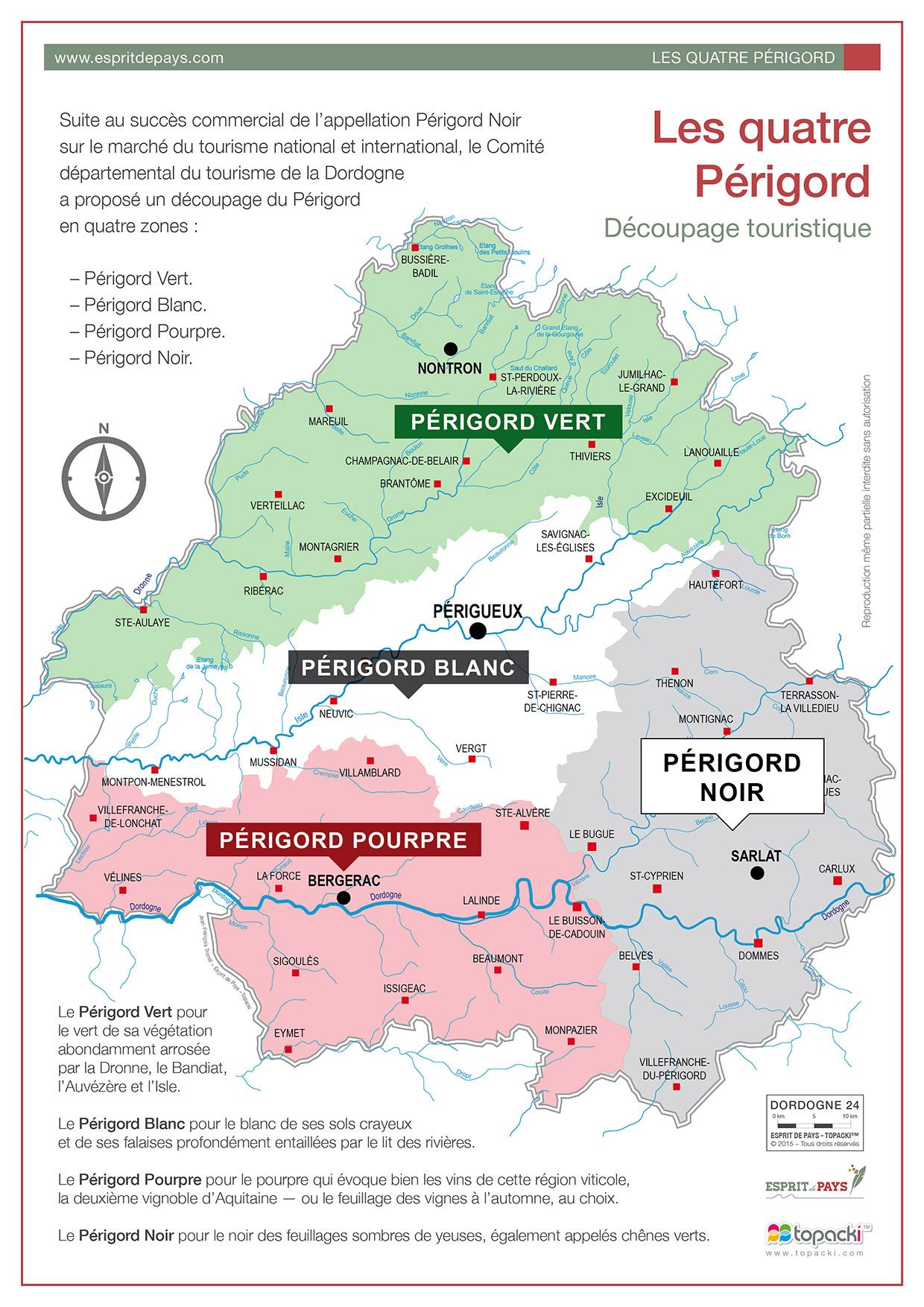 Cartographie : Les 4 Périgord touristiques