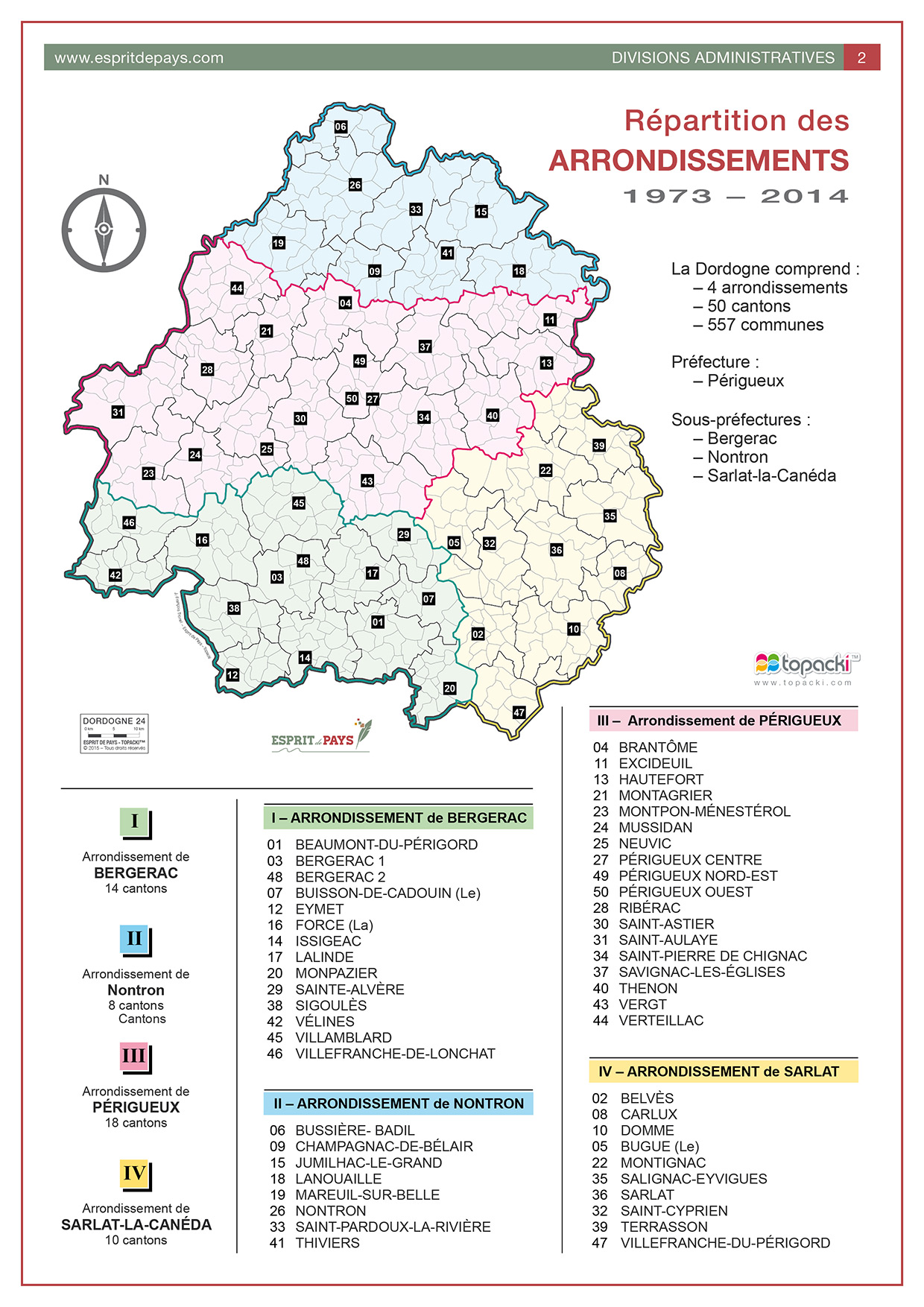 Cartographie : les arrondissements de la Dordogne