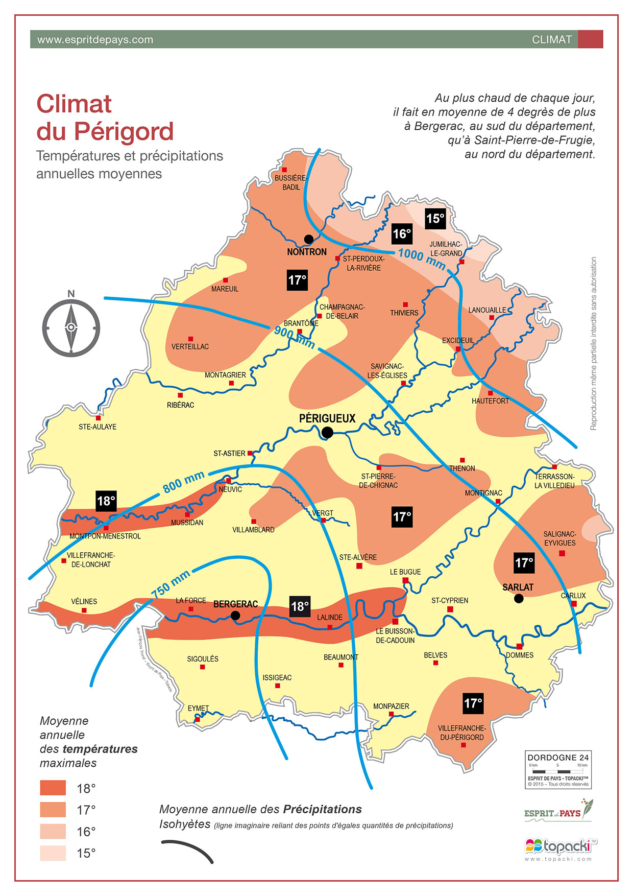 Cartographie : climat en Dordogne-Périgord