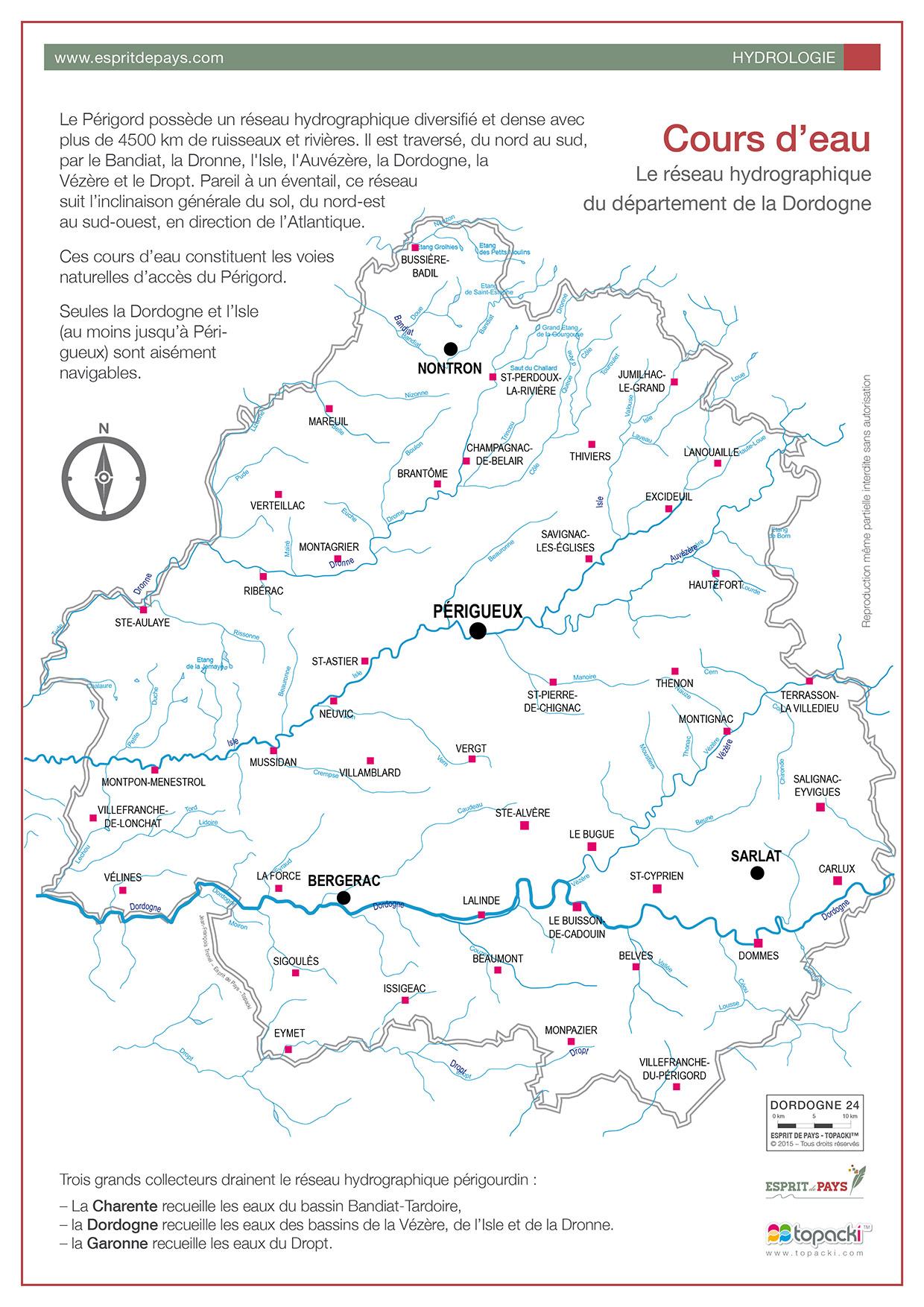 Cartographie : l'hydrographie du Périgord