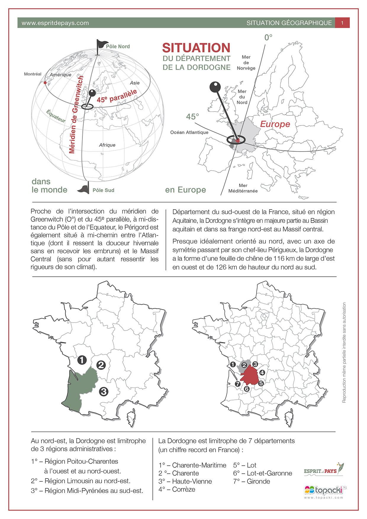 Cartographie : situation du département de la Dordogne