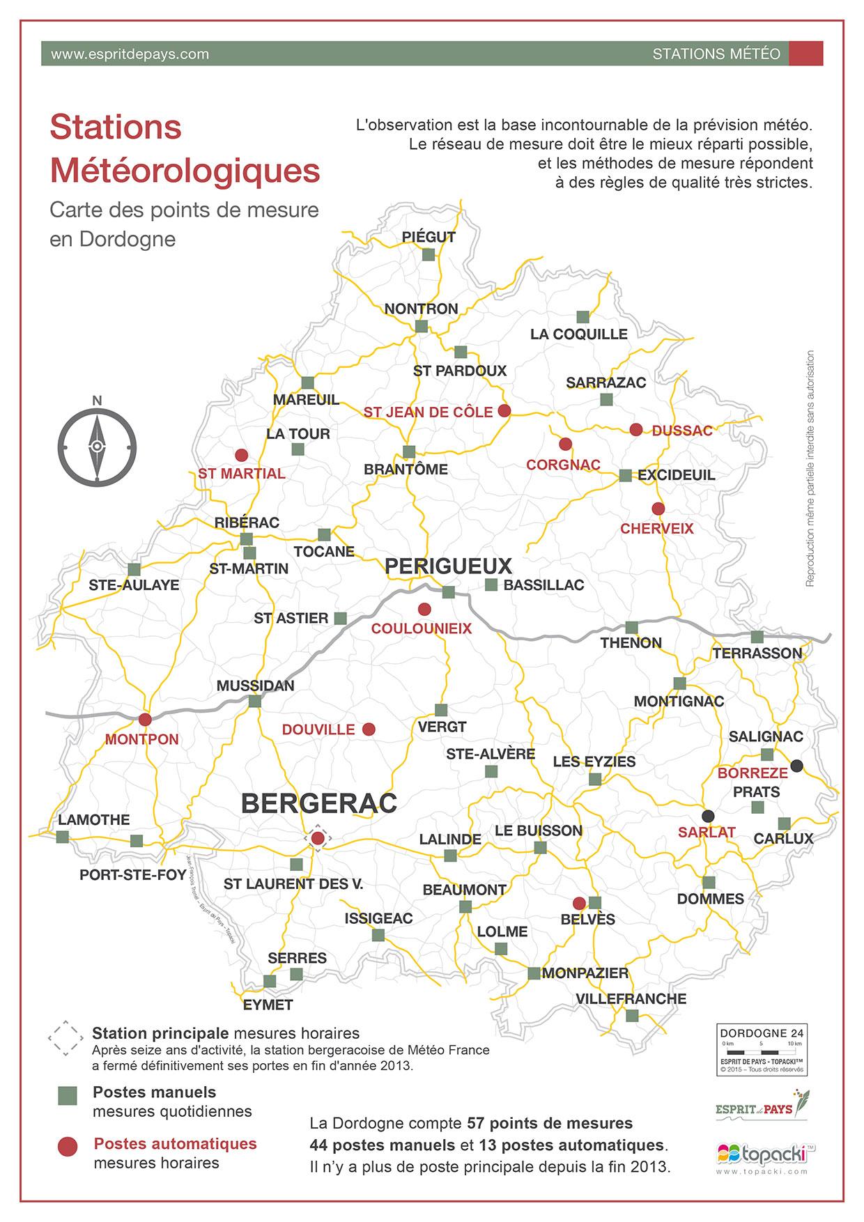 Cartographie : les stations météorologiques en Dordogne