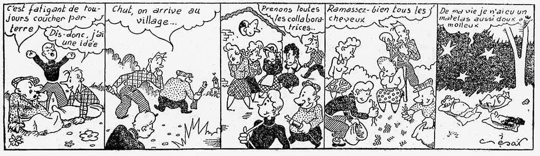 « Les trois maquisards », petite bande dessinée parue dans Les Voies nouvelles du 4 janvier 1945. À travers cette curieuse historiette apparaît, sous sa forme la plus niaise, la part symbolique de ce châtiment infligé aux femmes : des hommes coupent leurs cheveux, ce puissant attribut érotique, dont ils font un matelas avec lequel ils coucheront.