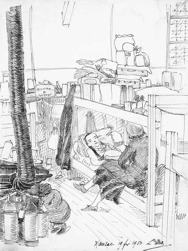 « Malade au dortoir», dessin d'une prisonnière de Mauzac, février 1950
