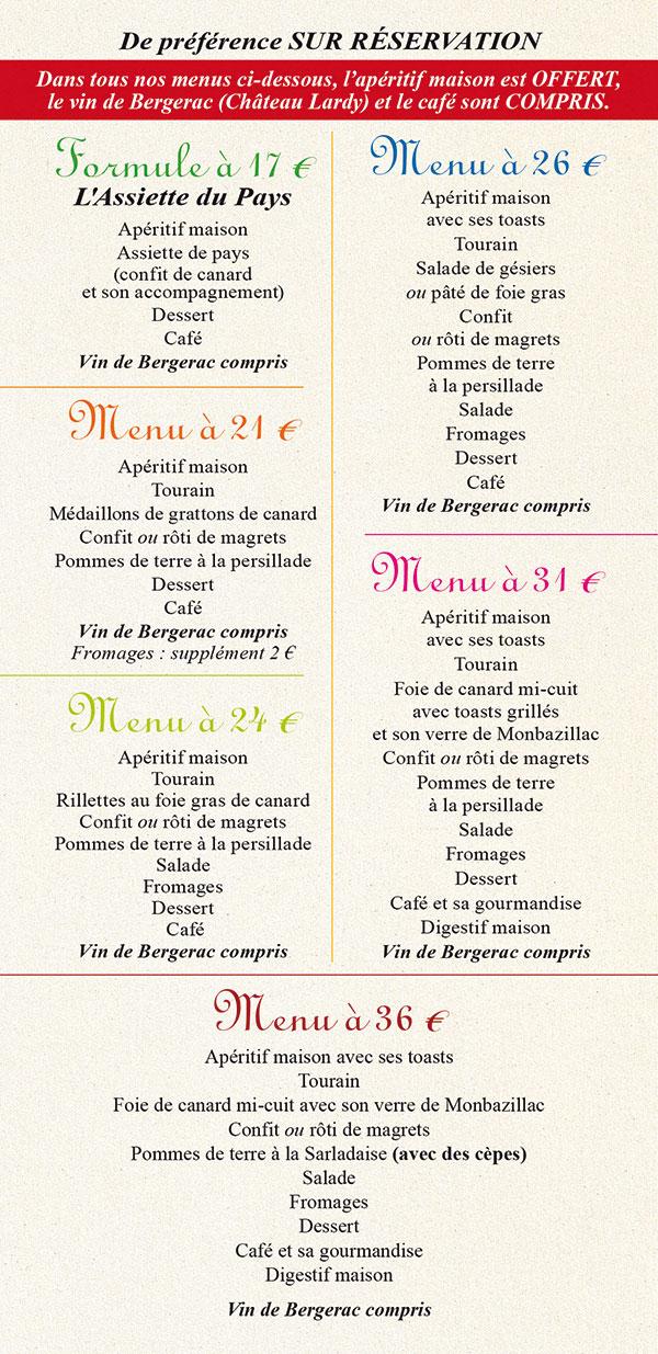 Menu 2013 de l'Auberge Rebeyrotte