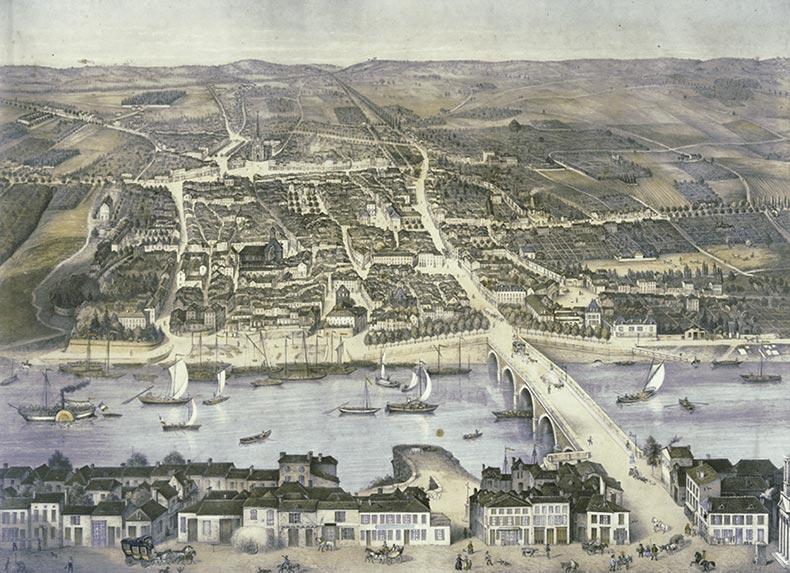 Une vue de Bergerac en 1856