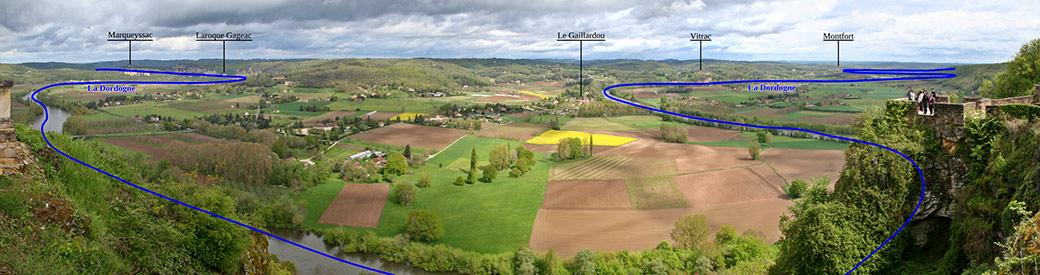 Vue panoramique du vignoble des Vins de Domme depuis la promenade de la Barre, à Domme en Périgord