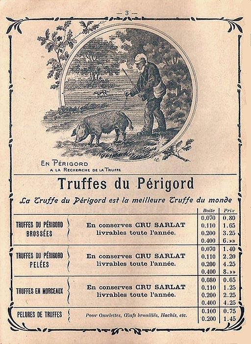 Histoire de la truffe du Périgord : le prix des truffes de Sarlat datant (fin du XIXe siècle)