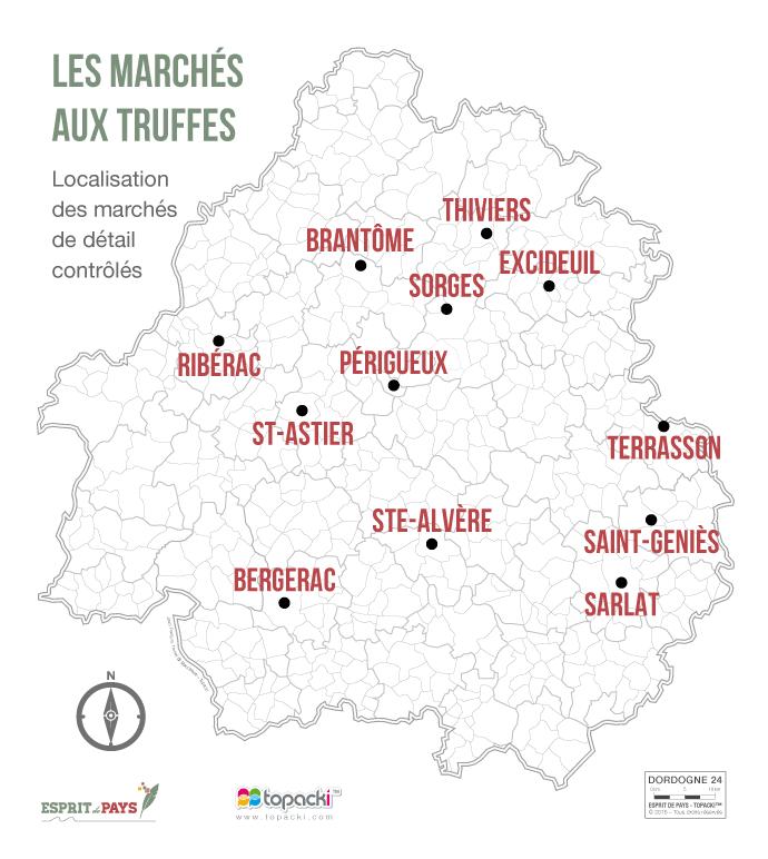 La carte des marchés aux truffes du Périgord