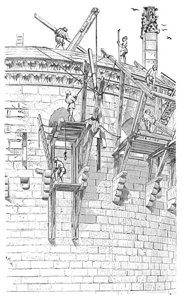 Manœuvres de charpentiers posant les hourds d'un donjon – Eugène Violet-le-Duc