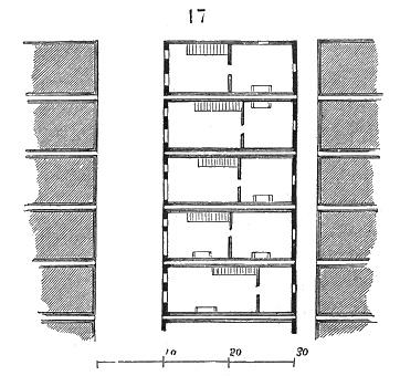 Plan des maisons de la Bastide de Monpazier – Illustration du Dictionnaire raisonné de l'architecture française du XIe au XVIe siècle, par Eugène Viollet-le-Duc, 1856.