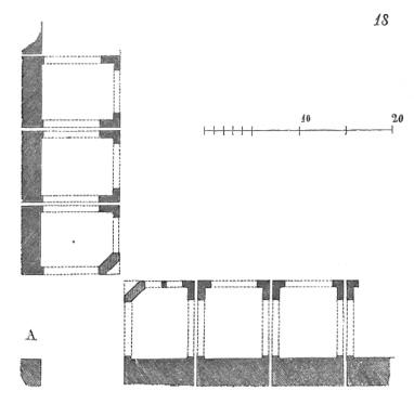 Plan de la bastide de Monpazier – Illustration du Dictionnaire raisonné de l'architecture française du XIe au XVIe siècle, par Eugène Viollet-le-Duc, 1856