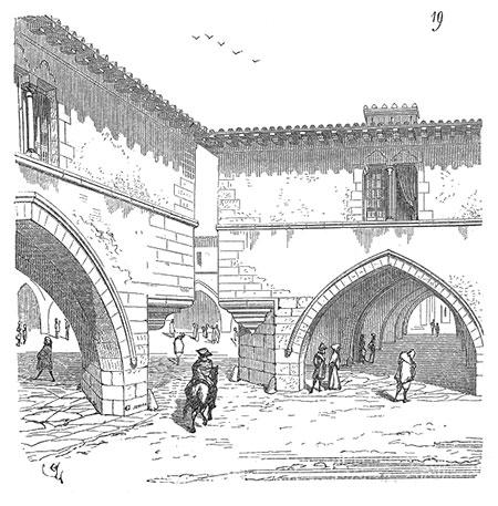 Vue perspective d'une des entrées la place de la bastide de Montpazier – Dessin Eugène Viollet-le-Duc