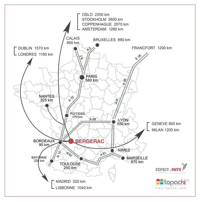 Situation du département de la Dordogne