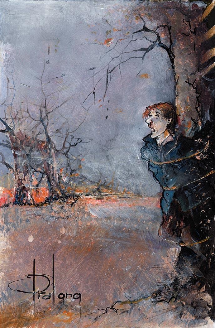 Une illustration par Franis Pralong de la nouvelle La truffière du Gourgandi