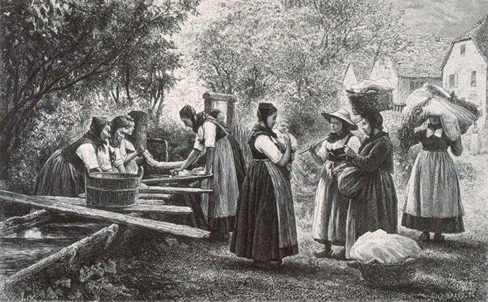 Une scène typique des lessives d'autrefois