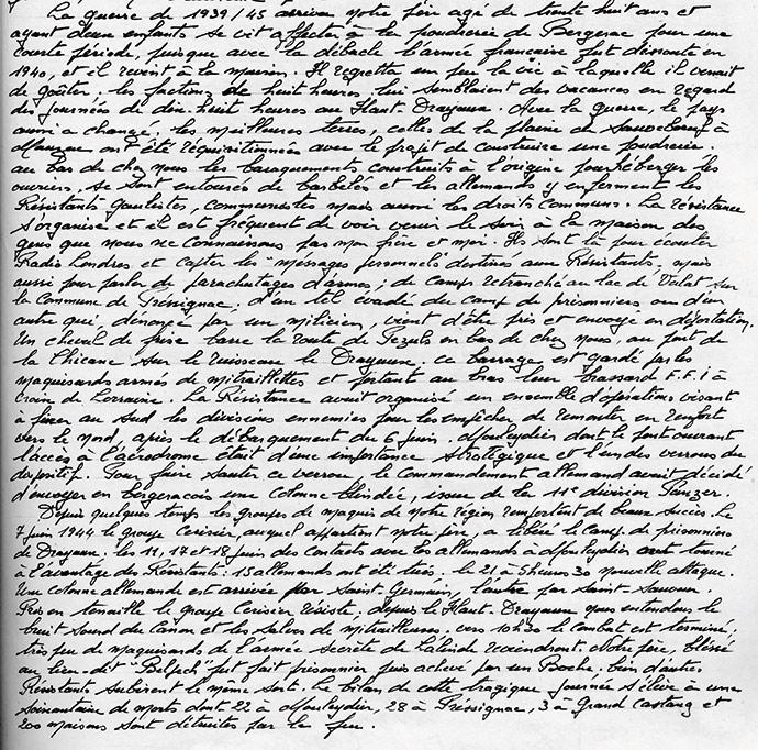Extrait du texte manuscrit écrit par Jean Chassaigne relatant la résistance à Haut-Drayaux