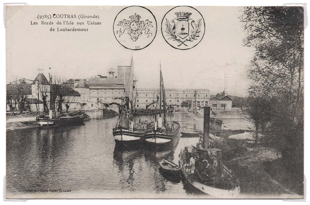 Les huileries Calvé-Dreft créée à la fin du XIXe siècle à la place du moulin existant au barrage de Laubardemont — Cliquez pour agrandir