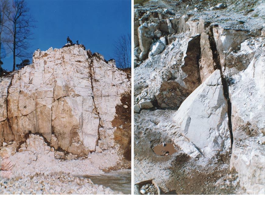 Le front de taille de la carrière de Saint-Paul-la-Roche et le cristal de roche monumental