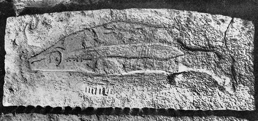 Sculpture de poisson, Abri du Poisson, Les Eyzies, Dordogne