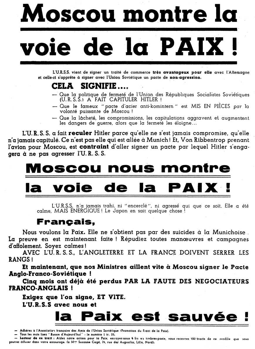 Un tract de propagande du Parti Communiste Français : « Moscou montre la voie de la Paix »